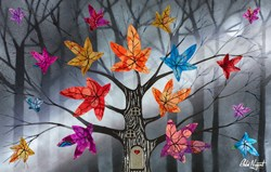 Sparkly Leaves by Chloe Nugent - Original Glazed Mixed Media on Board sized 25x16 inches. Available from Whitewall Galleries